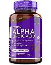 Alpha Lipoic Acid (ALA) 650 mg - 120 veganistische capsules met hoge dosis - 100% natuurlijk, geen synthetische bindmiddelen of vulstoffen - à 4 maanden voorraad - gemaakt in het VK door Nutravita