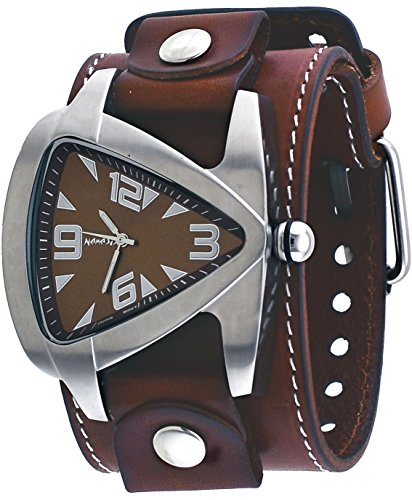 Dial Brown Leather Cuff (Nemesis #BLBB011B Men's Futuristic Teardrop Brown Dial Wide Leather Cuff Band Watch)