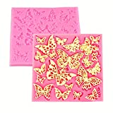 HengKe 2 Pcs Assorted Hollow Butterfly Shape Molds, Fondant Cake Texture Mat, Food Grade Cake Molds,Gum Paste, Fondant, Candy, Icing, Biscuit Decor, Chocolate Bake Ware Baking Tools