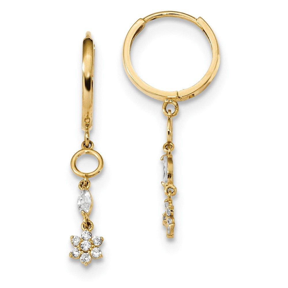 14k Yellow Gold Cubic Zirconia Cz Flower Drop Dangle Chandelier Hinged Hoop Earrings Ear Hoops Set Gardening Fine Jewelry Gifts For Women For Her