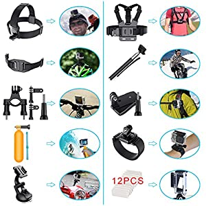 Erligpowht Action Camera Mounts for GoPro 6 Gopro Hero 5 4 3 GoPro Hero Session SJ4000 SJ5000 AKASO Apeman Xiaomi Yi WiMiUS Sony Sports DV with GoPro Hero Accessories Carry Case