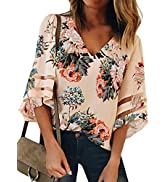 ROSKIKI Womens Summer Floral Print 3/4 Bell Sleeve V Neck Blouse Top Shirt