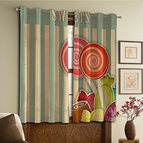 Custom design curtains/Vintage Lace Window Curtain/Grommet Top Blackout Curtains/Thermal Insulated Curtain For Bedroom And Kitchen-Set of 2 Panels(Store Chocolates Lollipops with White Stripes on) (Chocolate Custom Lollipops)