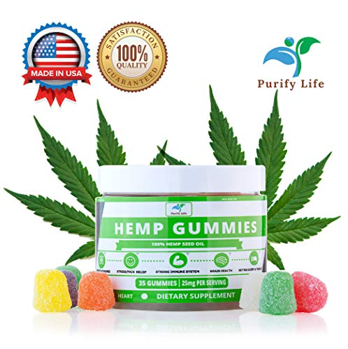 Premium Hemp Gummies Full Spectrum |875 mg| For Sleep, Pain Relief, Anxiety, Stress, Joint Inflammation, Depression and Nausea - 35 Count Organic Hemp Oil Extract Bombs - All Natural Made In USA