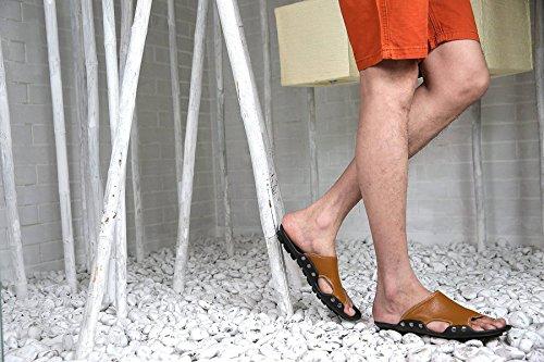 De Verano Sandalias Real Trekking Zapatos Hombre Lxxamens Brown Cuero Playa Zapatilla Rq1xd8w
