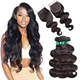 10A Brazilian Virgin Body Wave with 4x4 Lace Closure Unprocessed Human Hair Weave Extensions 3 Bundles With Swiss Lace Closure 100% Remy Human Hair Weft Natural Color Pecwu (14 16 18 +12 Free Part)