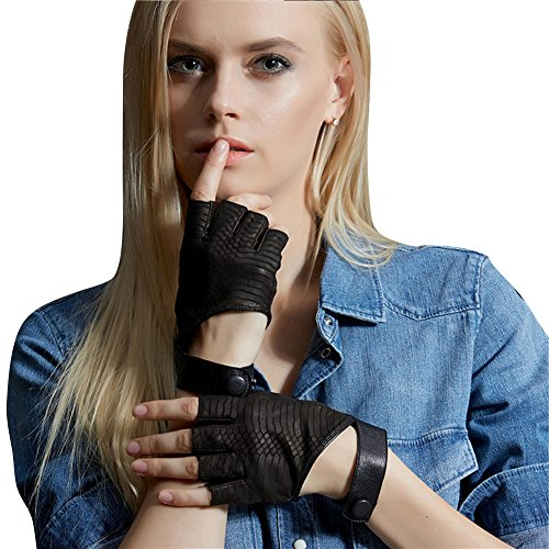 Fioretto Unique Womens Gifts Sexy Womens Fingerless Leather Gloves Italian Goatskin Leather Gloves Half Finger Driving Motorcycle Cycling Cosplay Show Gloves Black S ()