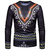 kaifongfu Men African 7D Print Long Sleeve Round Neck Top Shirt Blacks