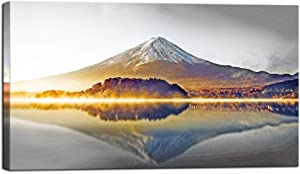 Nachic Wall Modern Canvas Painting Beautiful Mount Fuji at Sunrise Picture Wall Art Japanese Autumn Landscape Peaceful Lake Painting on Canvas Gallery Wrap Home Bedroom Wall Decorations 20x36inches