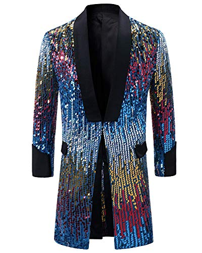 Men's Tuxedo Single-Breasted Party Show Suit Sequins Punk Jacket Blazer -