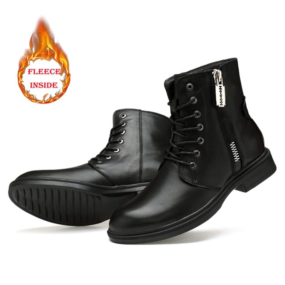 MUMUWU Mens Fashion Boots Casual Personality Convenient Zipper Winter Fleece Inside High Top Boot