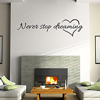 """LandFox """"Never Stop Dreaming"""" Removable Home Room Decor Wall Stickers"""