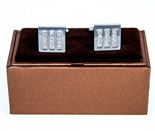 (MRCUFF 12 Clear Crystals Square Pair Cufflinks in a Presentation Gift Box & Polishing Cloth)