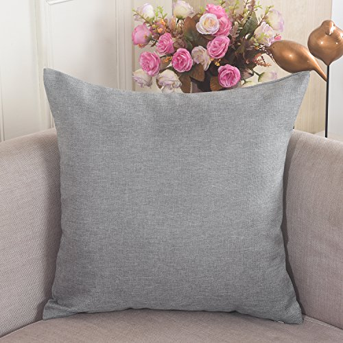 Home Brilliant Decorative Breathable Linen Square Throw Pillow Case Cushion Cover for Bed/Kids/Chair, 18 x 18 inch, Light Grey (Light Grey Throw Pillows)
