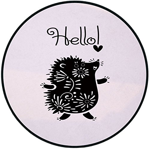 - Printing Round Rug,Hedgehog,Black and White Doodle Animal with Spikes Flowers Hello Quote Funny Illustration Decorative Mat Non-Slip Soft Entrance Mat Door Floor Rug Area Rug For Chair Living Room,Bla