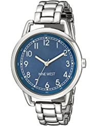 Nine West Womens NW/1691BLSB Easy-To-Read Blue Silver-Tone Watch