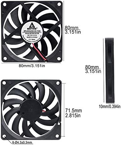 GDSTIME 80mm x 80mm x 10mm 12V DC Long Wire 39inch Brushless Cooling Fan