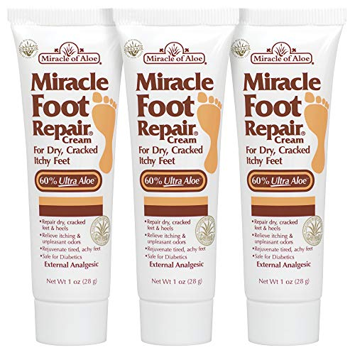 3-Pack Miracle Foot Repair Cream 1 ounce tube with 60% UltraAloe ()