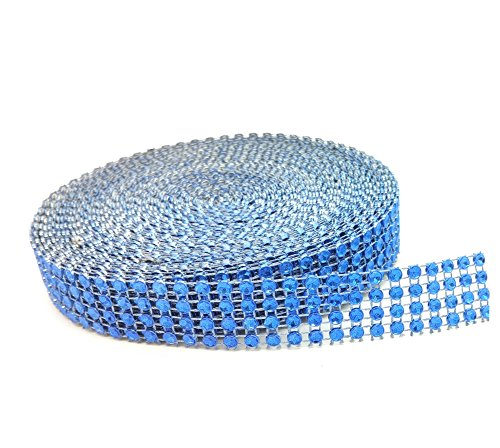 4 Row 10 Yard Acrylic Rhinestone Diamond Sparkling Mesh Ribbon for Wedding Cakes, Birthday Decorations, Baby Shower Events and Arts and Crafts Projects (Blue)]()