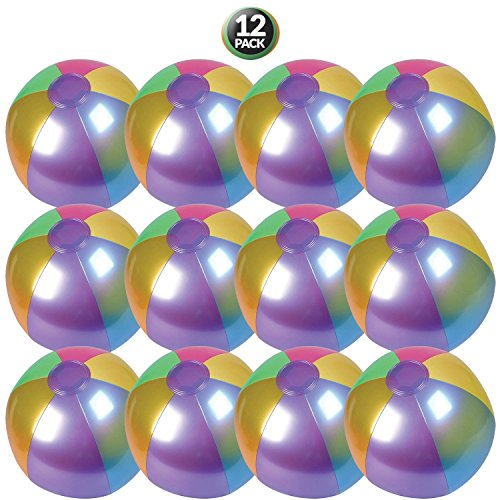 "Kidsco 18"" Metallic Beach Ball Inflatable - 12-pc Cool and Colorful Umbrella Streaked Pool Toys for Kids and Adults Summer Entertainment, Water Games and Outdoor Activities, Party Accessories by by Kidsco"