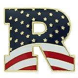 PinMart's American Flag Republican Party ''R'' Patriotic Enamel Lapel Pin