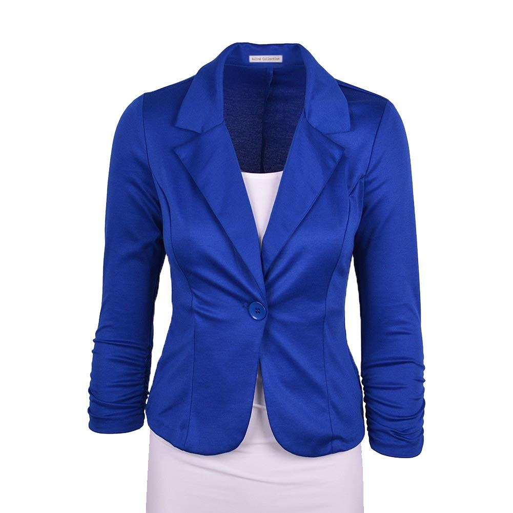 Women Solid Work Office One Button Casual Cropped Jacket Suits Blazer