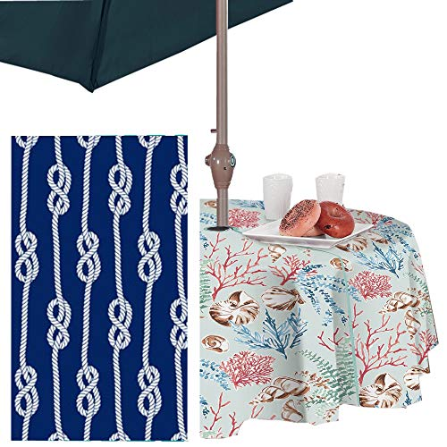 """Newbridge Nautical Rope Stripe Vinyl Flannel Backed Tablecloth - Coastal Rope Striped Indoor/Outdoor Vinyl Picnic, BBQ and Dining Tablecloth - 70"""" Zippered Umbrella Round, Navy"""