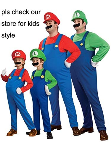Halloween Costumes Women Men & Kids Super Mario Luigi Brothers Plus Size Plumber Cosplay Costume Jumpsuit Fancy Cosplay Clothing for Adult & Children -