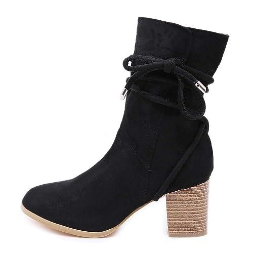657a6ac27ae ZYUEER Ankle Boots Femme Femmes Bas Bottes Chaussures Compensé Chaud  Chaussures Lacent Talon Vintage Bottines Chelsea