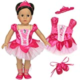 Sophia's 18 Inch Doll Ballet Costume 3 Pc. Doll Clothes Set, Fits 18 Inch American Girl Dolls & More! Classic Fuchsia Prima Ballerina Outfit, Hair Piece & Ballet Slippers