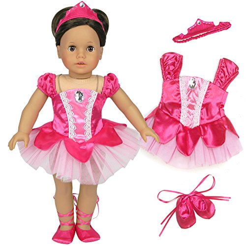 Prima Ballerina Girls Costumes (18 Inch Doll Ballet Costume 3 Pc. Doll Clothes Set by Sophia's, Fits 18 Inch American Girl Dolls & More! Classic Fuchsia Prima Ballerina Outfit, Hair Piece & Ballet Slippers)