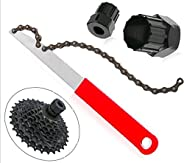 Oumers Bicycle Cassette Removal Tool, Cassette Freewheel Removal Tool with Chain Whip and 2pcs Bicycle Cassett