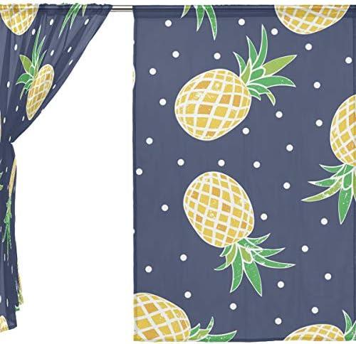 Vantaso Sheer Curtains 84 inch Long Pineapple Polka Dots