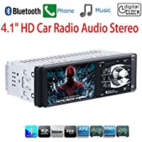 Masione Car Stereo with Bluetooth FM and Radio in Dash - 4.1 HD TFT Screen, MP3/Video Player, Single Din USB/AUX-in - Hands-Free Calling, 12V Support, Rear View Camera Input and Remote Control