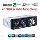 Masione Car Stereo with Bluetooth FM and Radio in Dash - 4.1'' HD TFT Screen, MP3/Video Player, Single Din USB/AUX-in - Hands-Free Calling, 12V Support, Rear View Camera Input and Remote Control