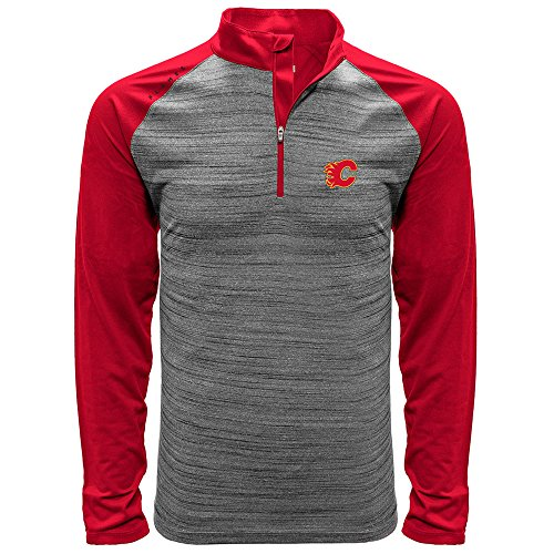 NHL Calgary Flames Men's Vandal Wordmark Quarter Zip Mid-Layer, Large, Heather Grey/Flame Red