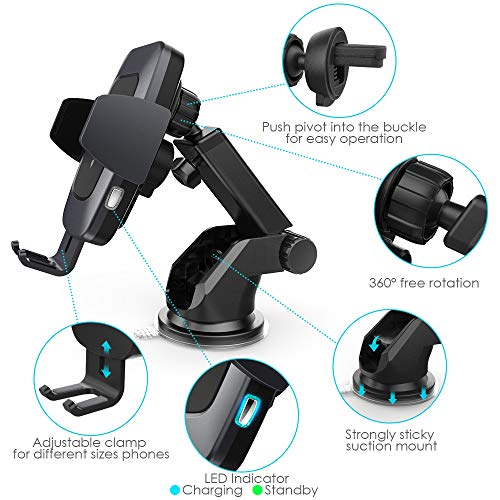 Heiyo Wireless Car Charger Mount, Auto-Clamp Cradle, Qi Charging Holder, Windshield & Air Vent, 10W Compatible for Samsung S9/S9+/S8/Note 8, 7.5W Compatible for iPhone Xs Max//Xs/XR/X 8/8 Plus(Black) by Heiyo (Image #3)