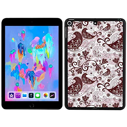 Hard Back Case Fit 2018 iPad Mini 5 [2018] 7.9in Paisley Arabesque Oriental Bird Figures with Floral Heart Forms with Lines Pale Pink Chestnut Brown
