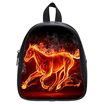 Burning Fire Running Horse Smoke Black Wallpaper Backpack Kids School Bag Small