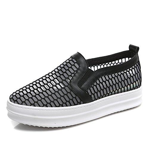zapatos La flat bottom B cuero malla del y transpirable sandalias ocio primavera verano nz6nxHA