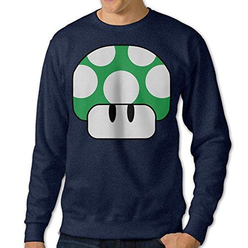 JXMD Men's Nintendo Green Mushroom 1Up Crewneck Hoodie Navy Size L (2)