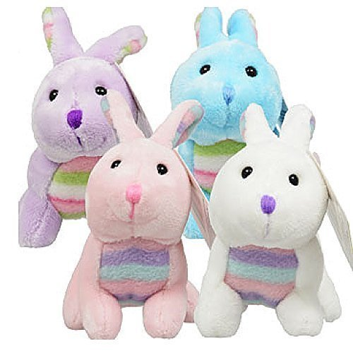 Easter Rabbits Set of 4 Plush 6.5 White, Pink, Blue, Purple Bunnies Super Soft by Greenbrier