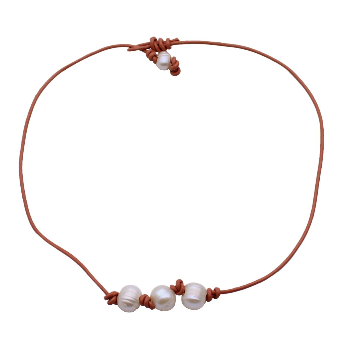 YIYIPRINCESS Pearl Leather Choker Summer Necklace Birthday Idea Gift for Women Girls (Brown 3 Pearl)