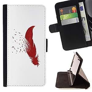 Momo Phone Case / Flip Funda de Cuero Case Cover - PLUMA MINIMALISTA Y AVES - Samsung Galaxy S6 EDGE