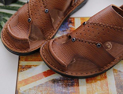 Sandali Uomini Estate Il nuovo pattino di cuoio genuino dei pattini della pelle di massaggio Il pattino dell'azionamento di funzione, Brown, UK = 9, EU = 43 1/3