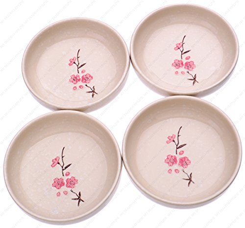 M.V. Trading SN2204S4 Ceramic Deep Soup Plates with Sakura Design, 4-Ounces (0.50 Cups), 4-Inches (W) x 1-Inches (H), Set of 4 by M.V. Trading