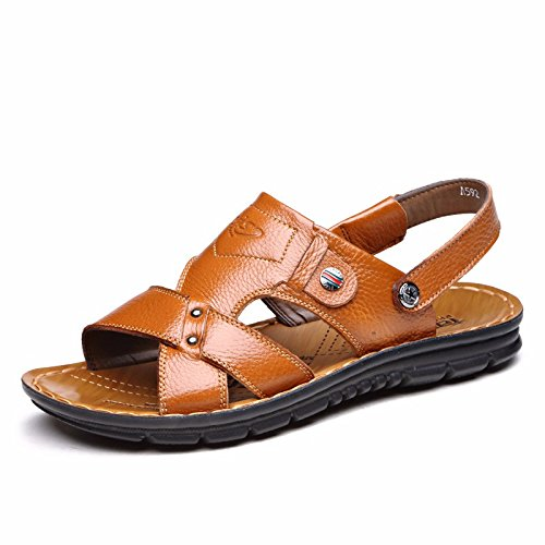 Sommer Echtleder Sandalen Männer Strand Schuh Männer Sandalen Männer Schuh Atmungsaktiv Freizeit Schuh Männer Trend ,GelbI,US=7.5,UK=7,EU=40 2/3,CN=41