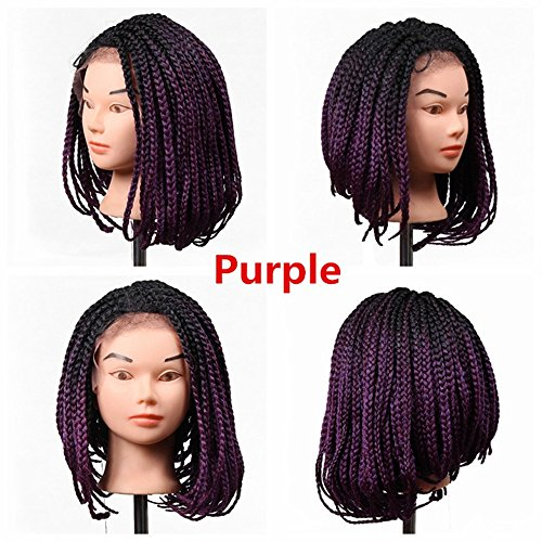 14-32 Inch Eunice Hair Micro Box Braided Wigs Bob Style Lace Front Wig for Black Women Glueless Medium Length Bob Braided Lace Wig with Baby Hair for Daily Wear for Women (14 inch, Purple) - Braided Spring