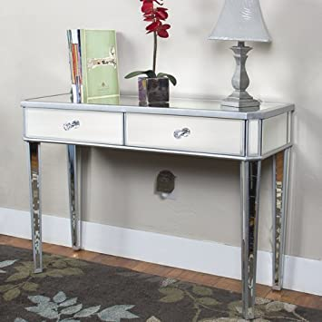 Best Choice Products Mirrored Console Table Vanity Desk Mirror Glam 2  Drawers Home Furniture