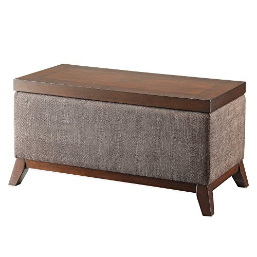 Wooden Lift Top Storage Ottoman in Neutral Hued Fabric Upholstery by Generic
